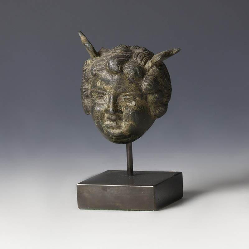 Roman Bronze Head Of Mercury